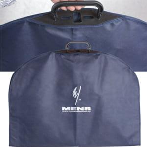 GB-016 Custom-made plastic handle blue pp nonwoven garment suit carrier
